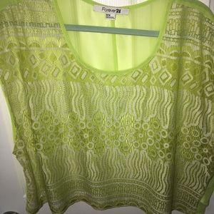 Tops - Lime Sheer Lace Crop Forever 21 Medium